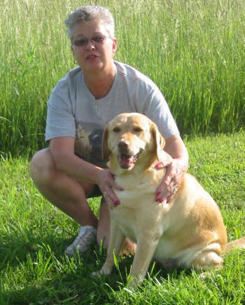 yellow labrador retriever dog and woman